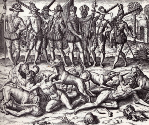 This image is believed to be a Spanish depiction of Balboa's dogs attacking sodomites. The torturing of berdaches by conquistadores.