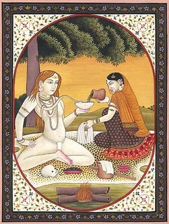 Parvati offering Bhang to Shiva