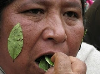 Bolivian woman chewing coca leaf